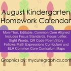 August Mon.-Thur. Common Core Kindergarten 4 Week Homework