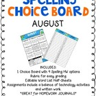August Spelling Choice Board {Editable Word List}