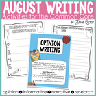 August Writing Activities Aligned to Common Core Standards