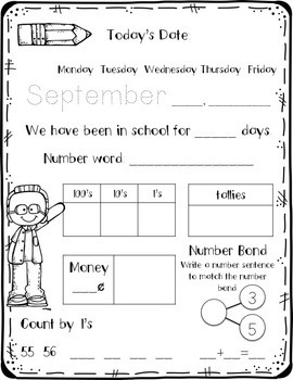 August/September Daily Calendar Review and Math Practice