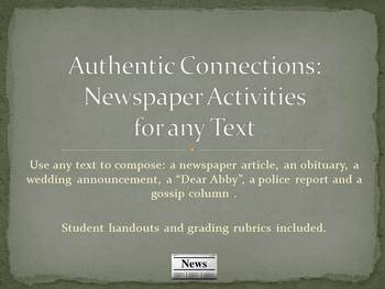 Authentic Connections: Newspaper activities for any text