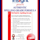 Authentic Spelling Grade - Free Formula!