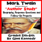Author Study #3: Mark Twain w/ Reading/Writing Activities