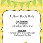 Author Study Units:  Don Freeman and Mem Fox