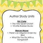 Author Study Units:  Eric Carle and Mercer Mayer