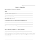 Author's Biography Worksheet