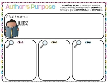 Author's Purpose Chart-Grade 3 Treasures