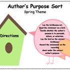 Author&#039;s Purpose Literacy Center Sort - Spring Theme
