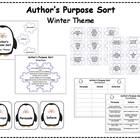 Author&#039;s Purpose Literacy Center Sort - Winter Theme