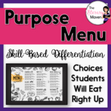 Author's Purpose Menu Based on Bloom's Taxonomy & Common C