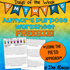 FREEBIE!  Author's Purpose PIE'ED Worksheet