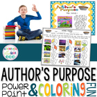 Author&#039;s Purpose PowerPoint and Coloring Fun! (Common Core
