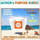 Author&#039;s Purpose Scale/Rubric - Marzano Compatible