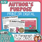 Author&#039;s Purpose Task Cards: 24 Cards: Persuade, Inform &amp; 
