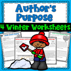 Author's Purpose Winter Passages Worksheet Packet (4 themes)