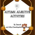 Autumn Adjectives worksheets Activities (Halloween and Tha