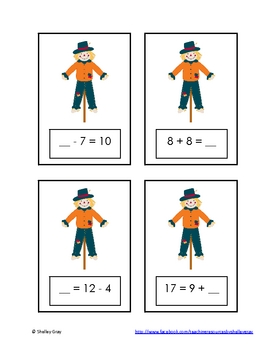 "Autumn Scarecrow ""Determining Unknowns"" Math Center"