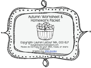 Autumn Worksheet & HW Pack {{BUNDLE}}