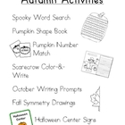 Autumn and Halloween Thematic Activities