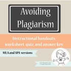 Plagiarism Handout and Worksheet