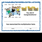 Award Certificate - Memorize Multiplcation Facts