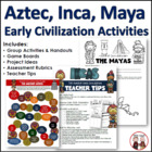 Aztec, Inca, Maya Group Activity Worksheets, Projects Common Core