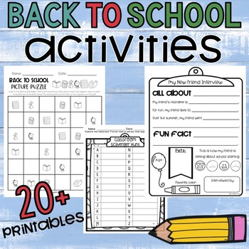 BACK TO SCHOOL ESSENTIALS: Activities for the 1st Day/Week