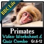 BBC Life - Primates Episode - Video Questions Worksheet &