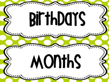 BIRTHDAY CHART months and days of the week