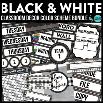 BLACKLINE DESIGN- CLASSROOM DECOR & MORE BUNDLE (BLACK, WHITE ...