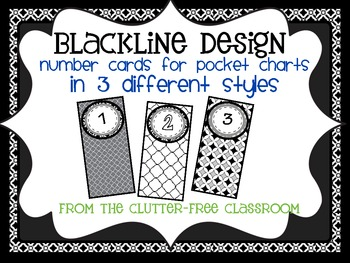 BLACKLINE DESIGN- POCKET CHART NUMBER CARDS for CLASSROOM