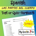 BODY PARTS:  Spanish Matching Test/Quiz B