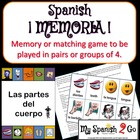 BODY PARTS Vocabulary Memory/Matching Game