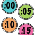 BRIGHTS Colorful Round Clock Labels {Time, Telling Time}