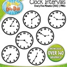 B/W Clock Clip Art — Every 5 Minutes / Over 140 Graphics!