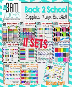 Back 2 School Supply List Clip Art Collection (The 3AM Teacher)