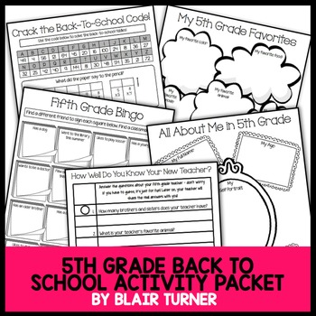 Back-To-School Activity Packet - 5th Grade