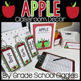 Back To School Apple Themed Editable Classroom Pack