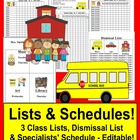 Back To School Class Lists & Dismissal List & Specialist Schedule