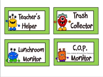 Back To School Monster Themed Class Job Chart