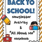 All About Me Notebook & Back-to-School Newsletter Activity