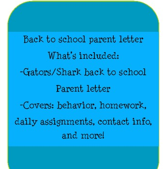 Back To School Parent Letter Shark Theme
