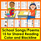 Back To School Poems/Songs - Color and B/W To Color