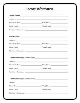 Back To School - Printable Student Information Form - 2 page