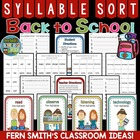 Back To School Syllable Sort for Common Core