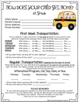Back to School 1st Grade Forms - Cruisin' Into 1st