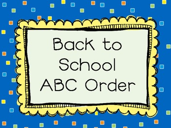 Back to School ABC Order - FREEBIE!