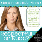Back to School Activities 2 - Respectful or Rude?