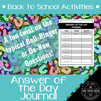 Back to School Activities - Answer of the Day Journal