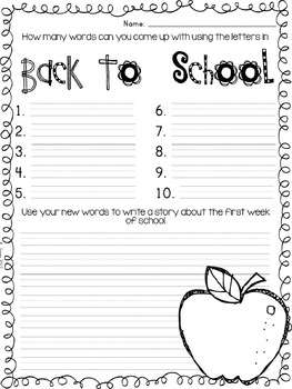 Back to School Activities {Freebie}